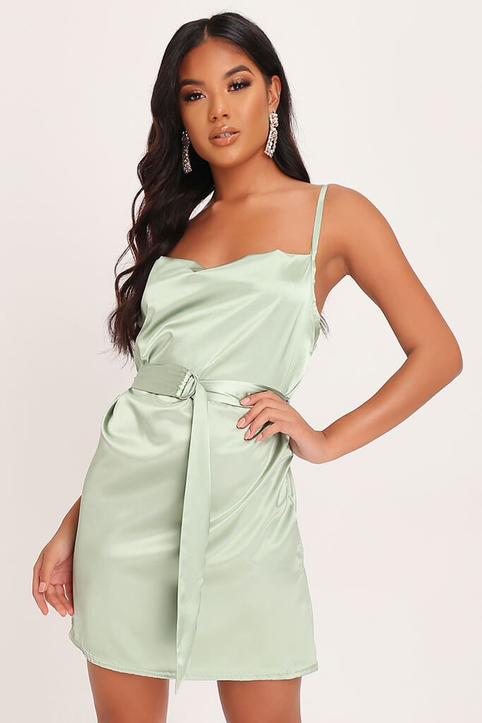 Sage Green Satin Belted Mini Dress view main view
