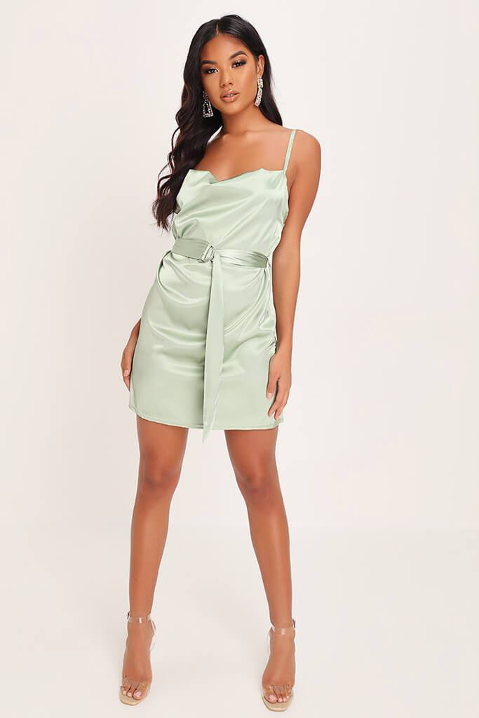 Sage Green Satin Belted Mini Dress view 2