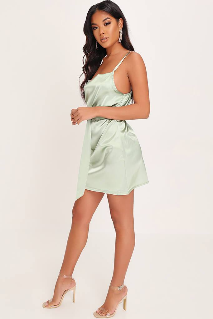 Sage Green Satin Belted Mini Dress view 3
