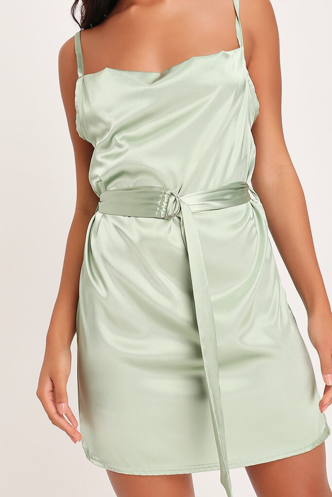 Sage Green Satin Belted Mini Dress view 4