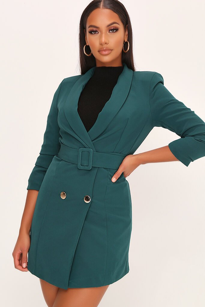 Emerald Woven Ruched Sleeve Belted Blazer Dress