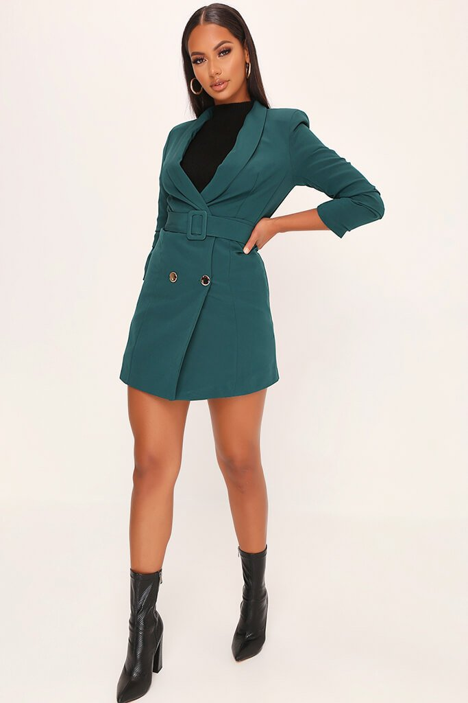 Emerald Woven Ruched Sleeve Belted Blazer Dress view 2