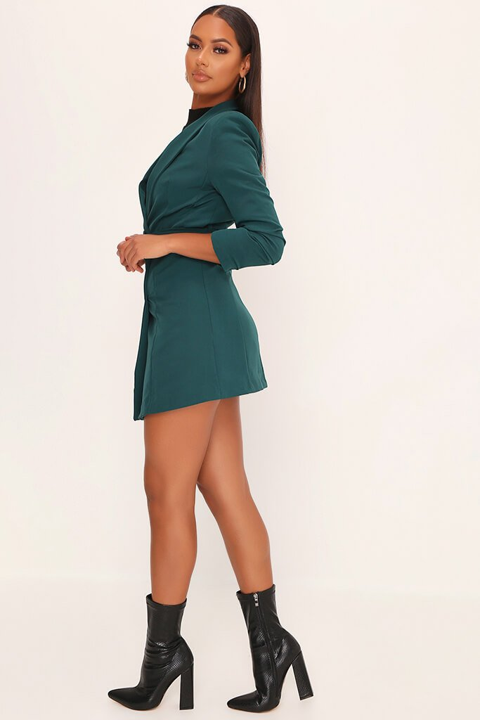 Emerald Woven Ruched Sleeve Belted Blazer Dress view 3