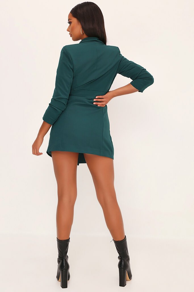 Emerald Woven Ruched Sleeve Belted Blazer Dress view 5