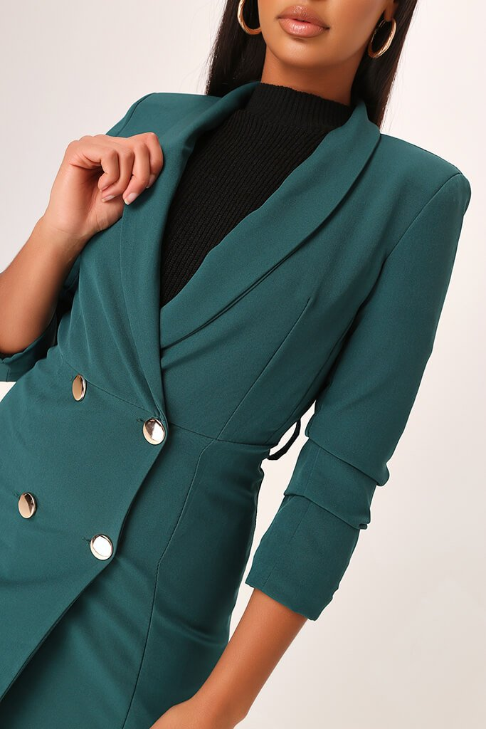Emerald Woven Ruched Sleeve Belted Blazer Dress view 4