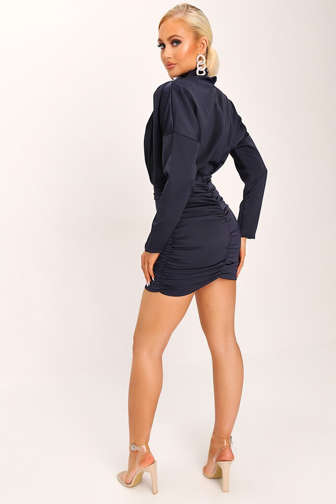 Navy High Neck Ruched Back Satin Mini Dress view 5
