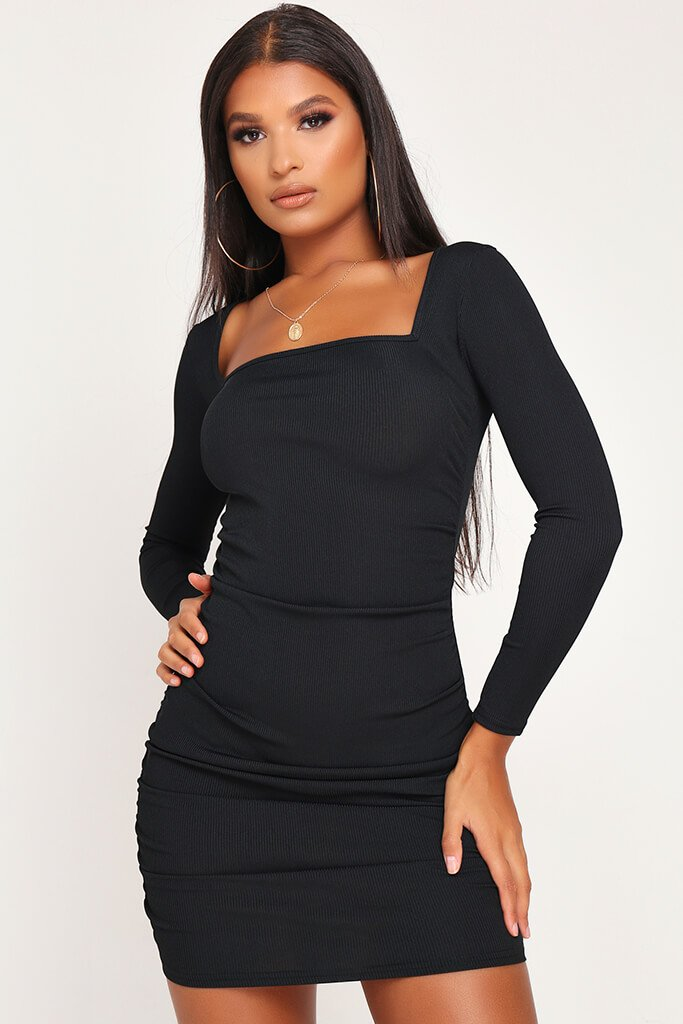 Black Ruched Side Long Sleeve Ribbed Dress