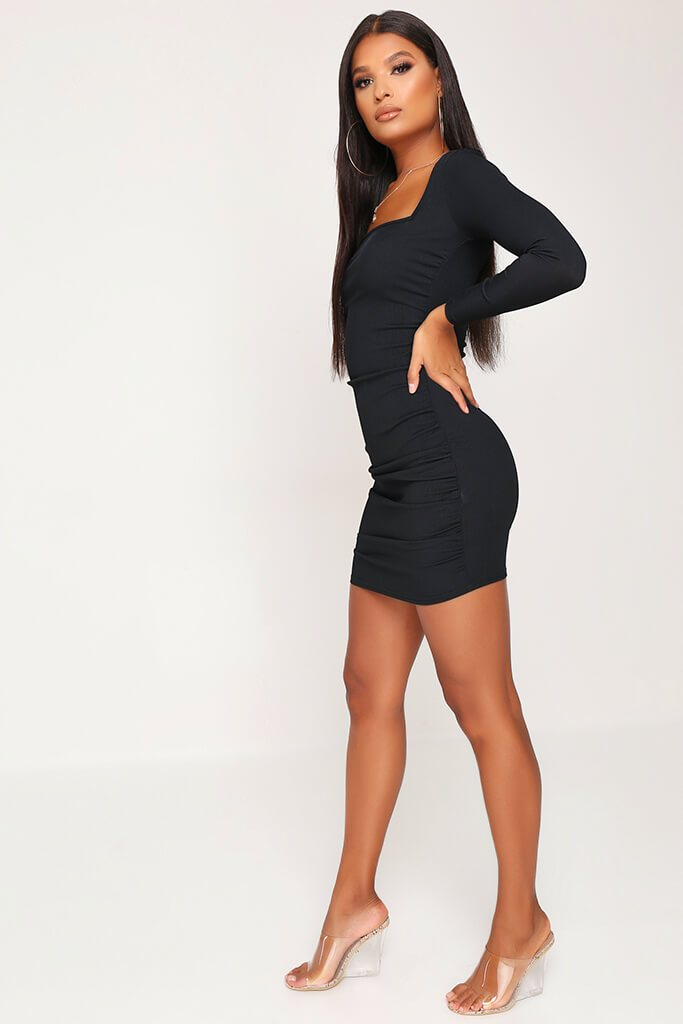 Black Ruched Side Long Sleeve Ribbed Dress view 3