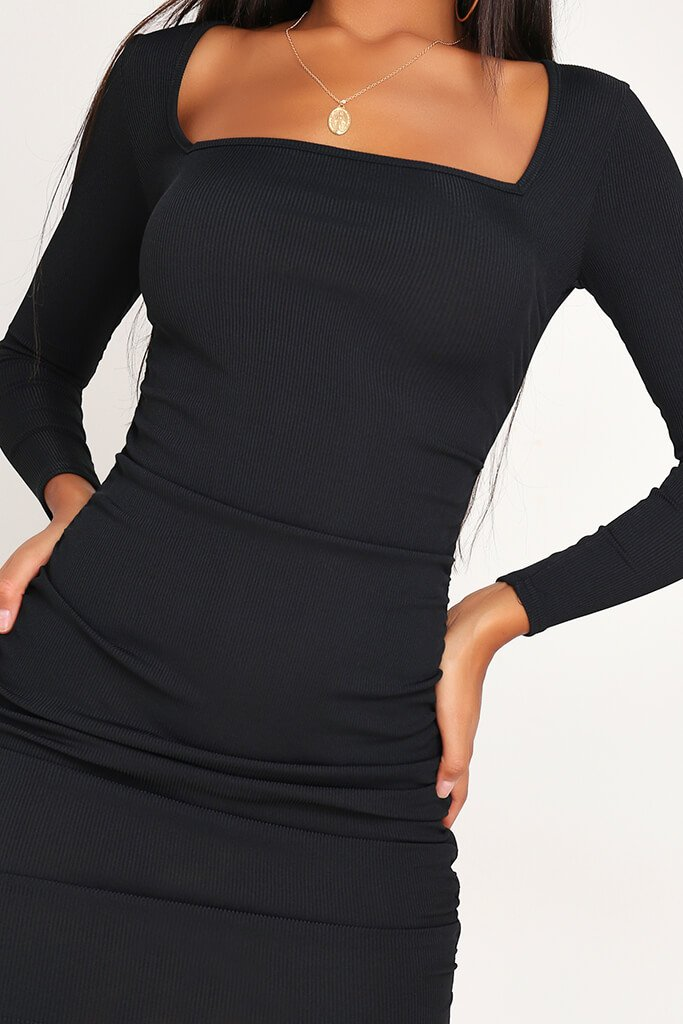 Black Ruched Side Long Sleeve Ribbed Dress view 4
