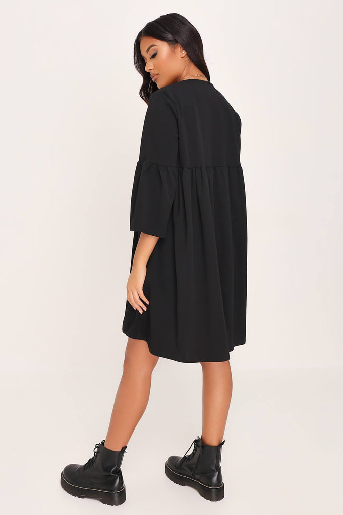 Black Frill Sleeve Smock Dress view 5