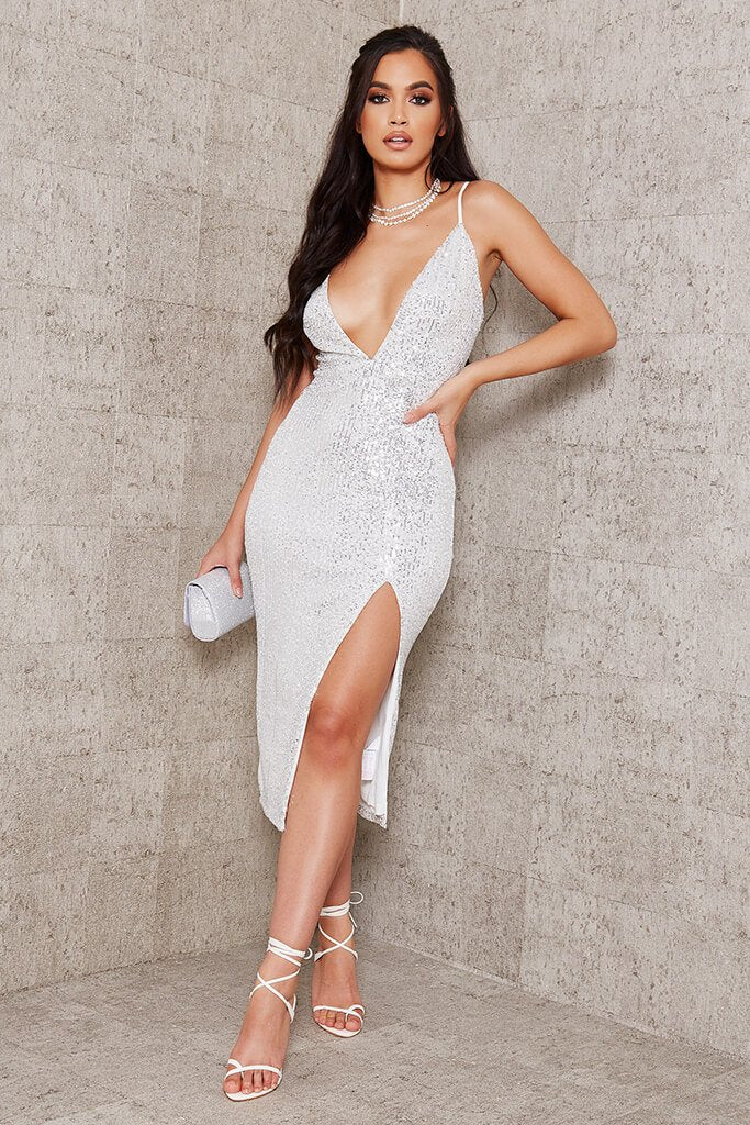 White Sequin Strappy Plunge Midi Dress view main view