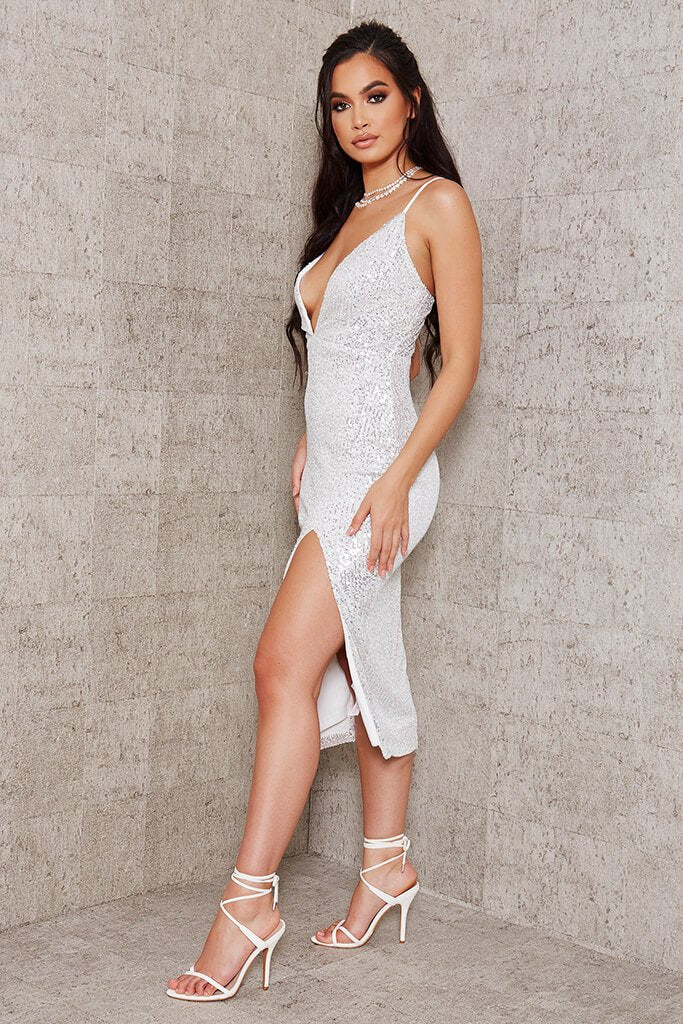 White Sequin Strappy Plunge Midi Dress view 3