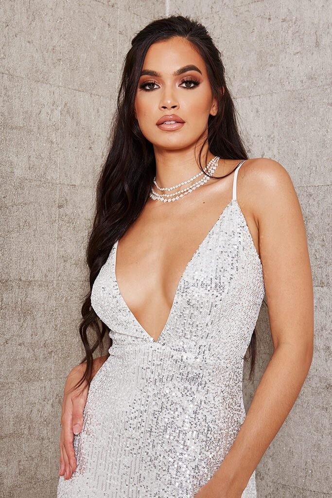 White Sequin Strappy Plunge Midi Dress view 2