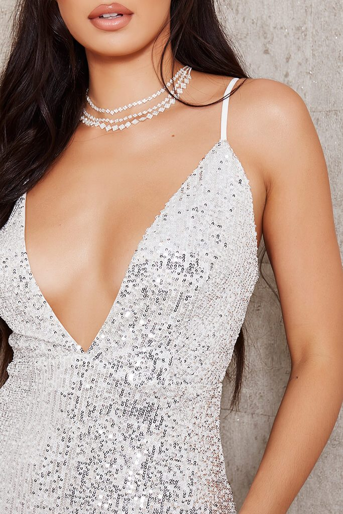 White Sequin Strappy Plunge Midi Dress view 4