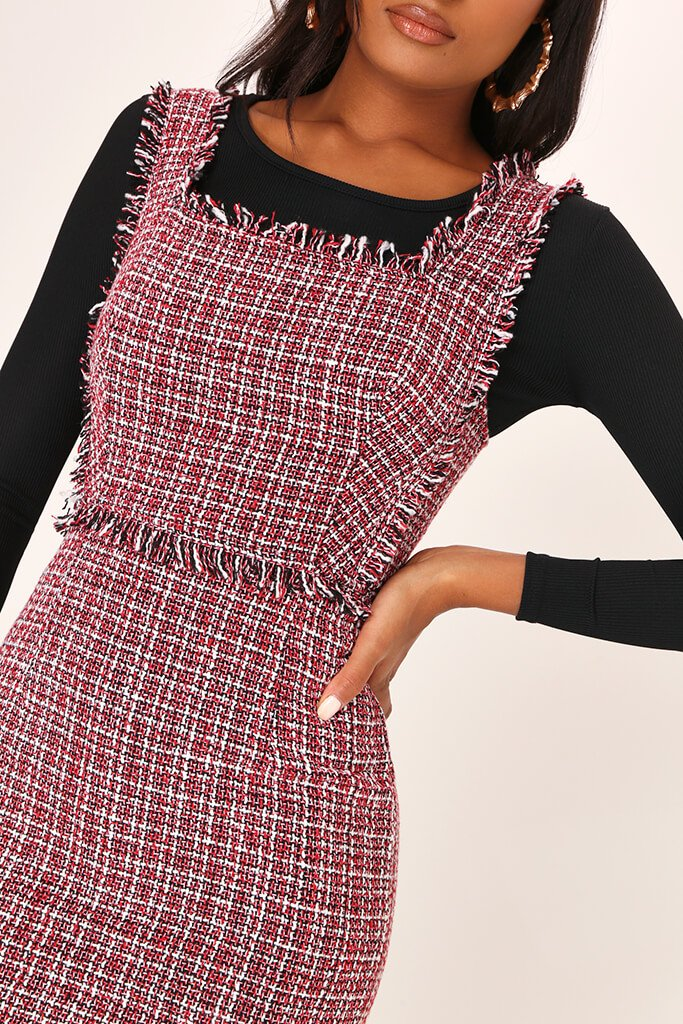 Red Tweed Square Neck Pinafore Dress view 4