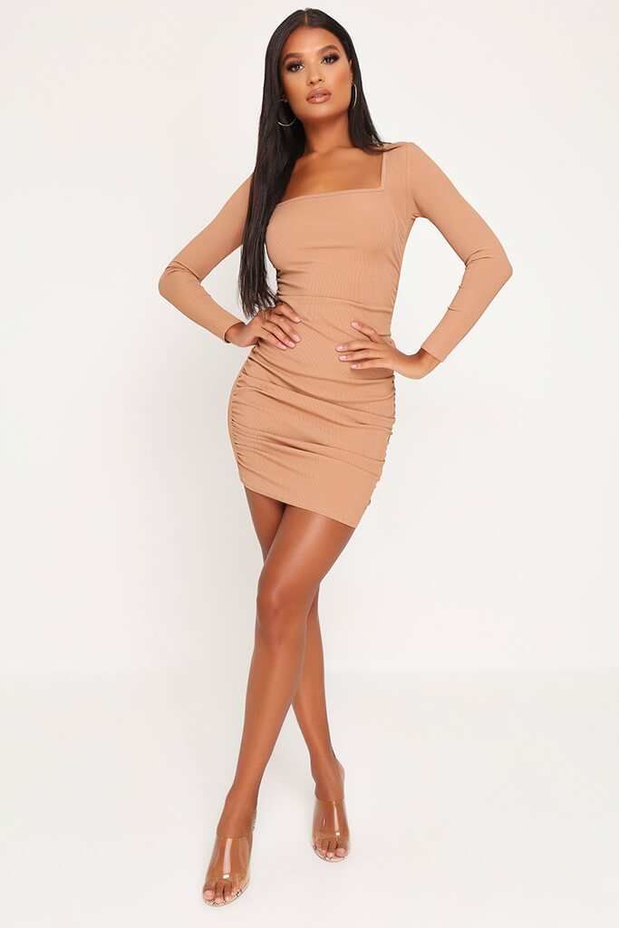 Camel Ruched Side Long Sleeve Ribbed Dress view 2