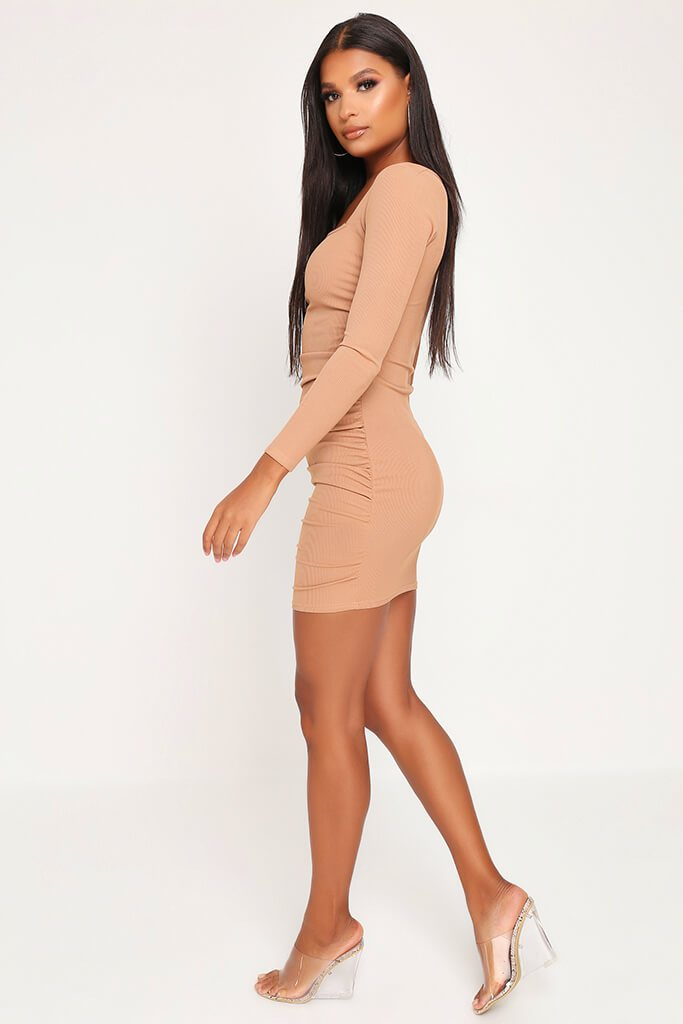 Camel Ruched Side Long Sleeve Ribbed Dress view 3