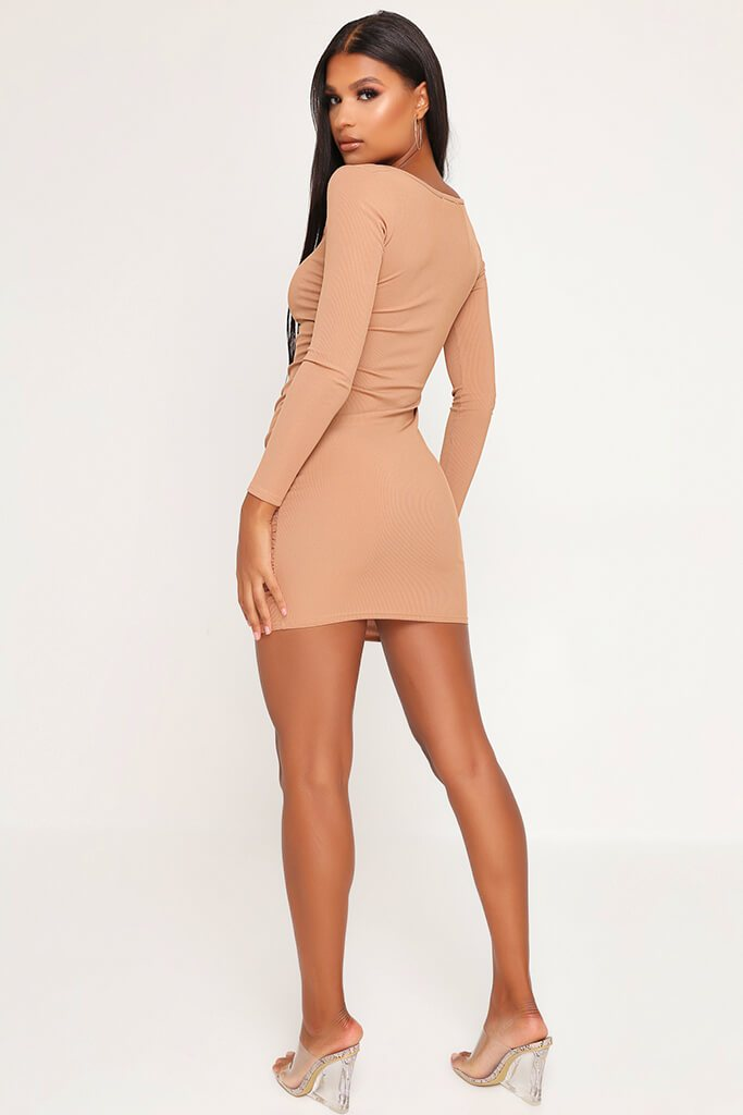 Camel Ruched Side Long Sleeve Ribbed Dress view 5