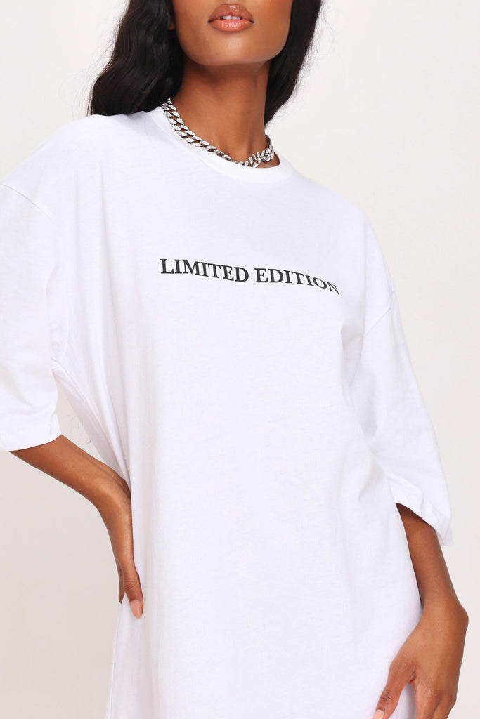 White Limited Edition Oversized T-Shirt Dress view 4