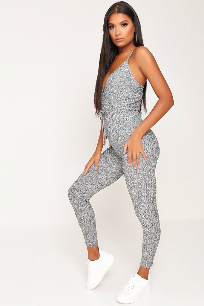 Grey Cami Tie Waist Ribbed Jumpsuit view 3