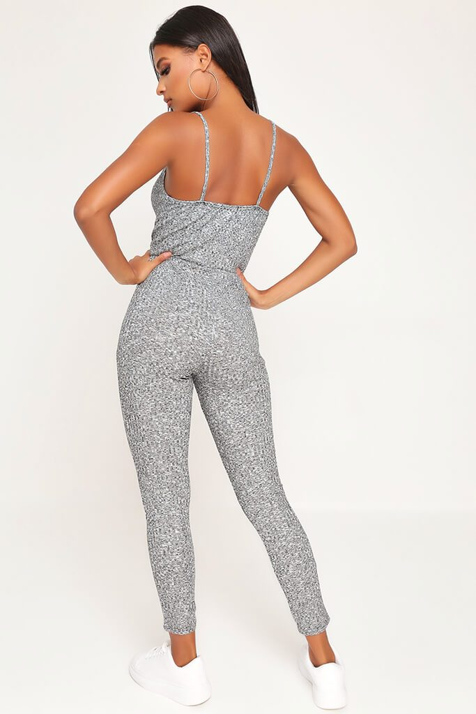 Grey Cami Tie Waist Ribbed Jumpsuit view 5