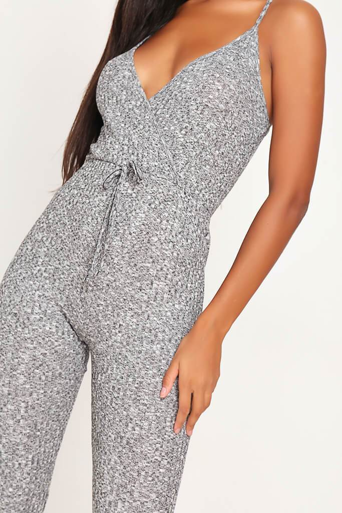 Grey Cami Tie Waist Ribbed Jumpsuit view 4