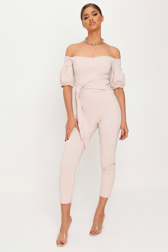 Stone Bardot Puff Sleeve Jumpsuit view main view