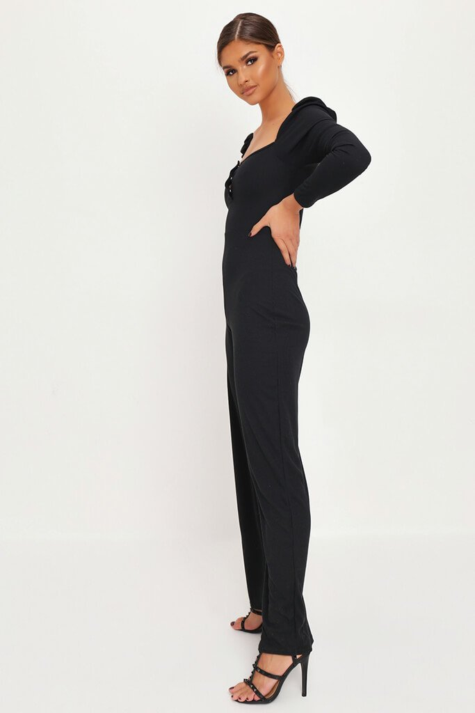 Black Puff Sleeve Button Front Jumpsuit view 3