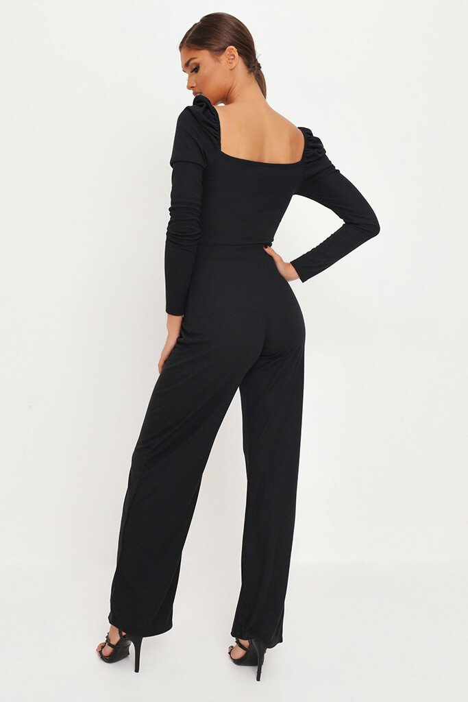 Black Puff Sleeve Button Front Jumpsuit view 5