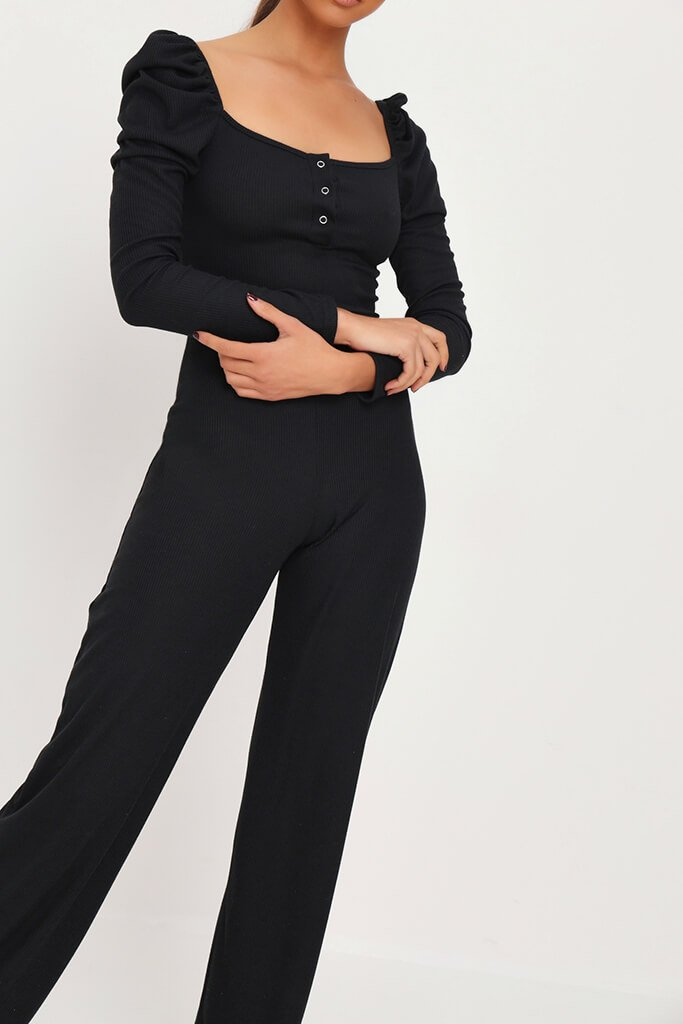 Black Puff Sleeve Button Front Jumpsuit view 4
