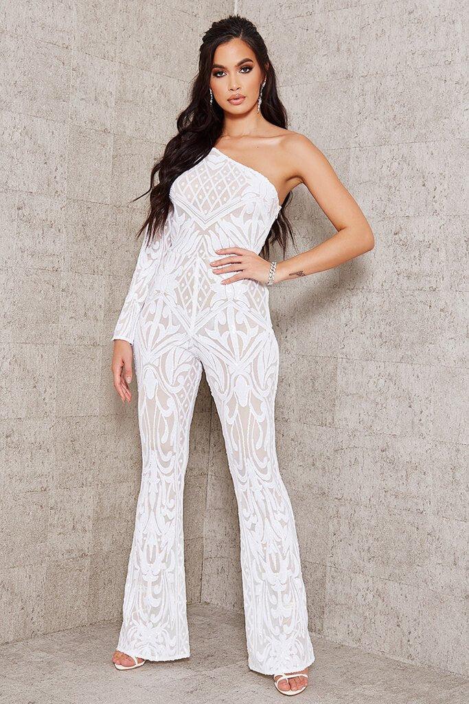 White Sequin Mesh One Shoulder Jumpsuit