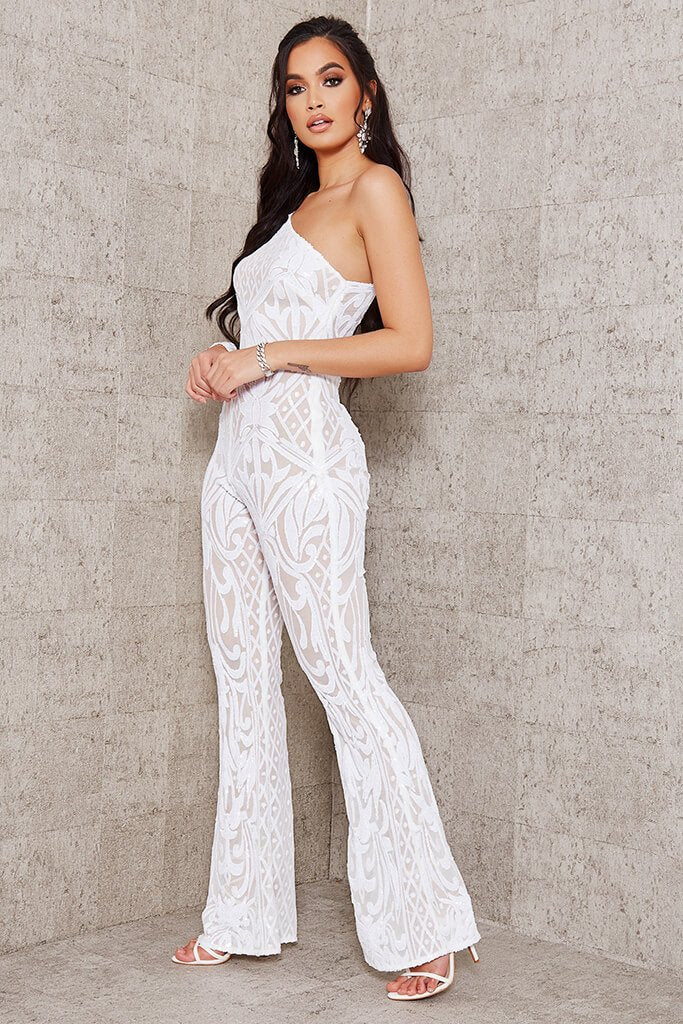 White Sequin Mesh One Shoulder Jumpsuit view 2