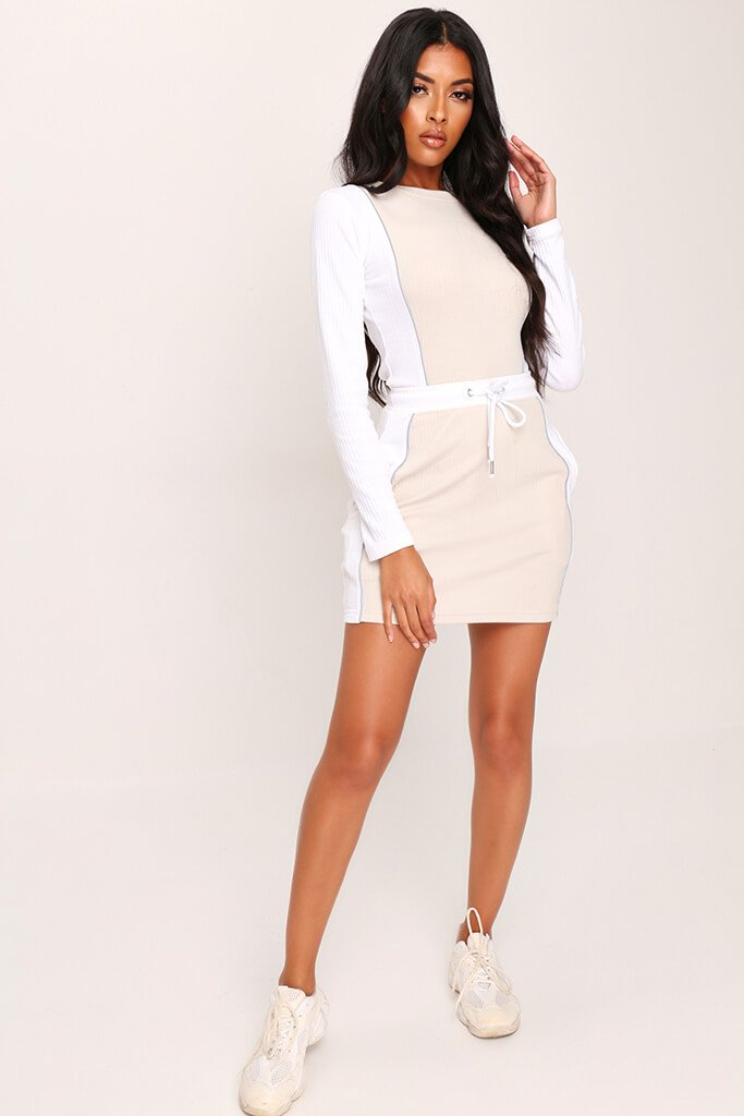 Sand Panelled Drawcord Mini Skirt view 2