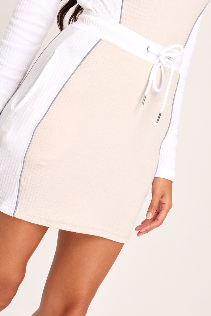 Sand Panelled Drawcord Mini Skirt view 4