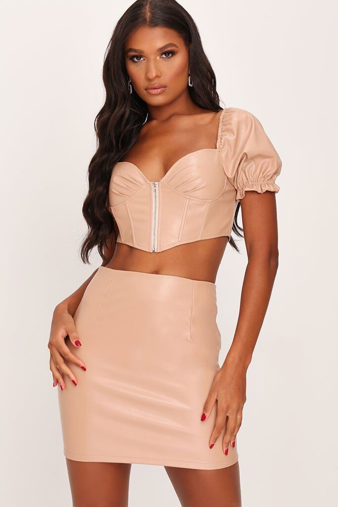 Nude Faux Leather Zip Back Mini Skirt