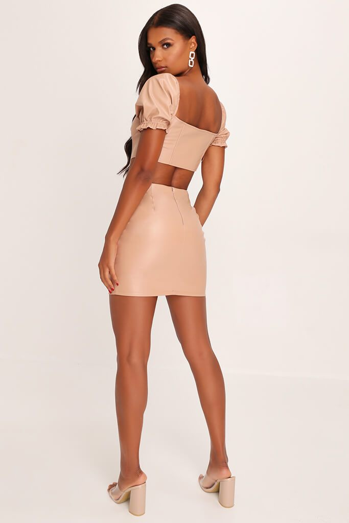 Nude Faux Leather Zip Back Mini Skirt view 5