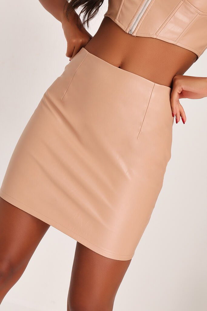 Nude Faux Leather Zip Back Mini Skirt view 4