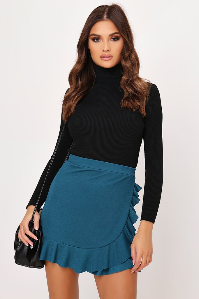Dark Green Wrap Around Ruffle Mini Skirt