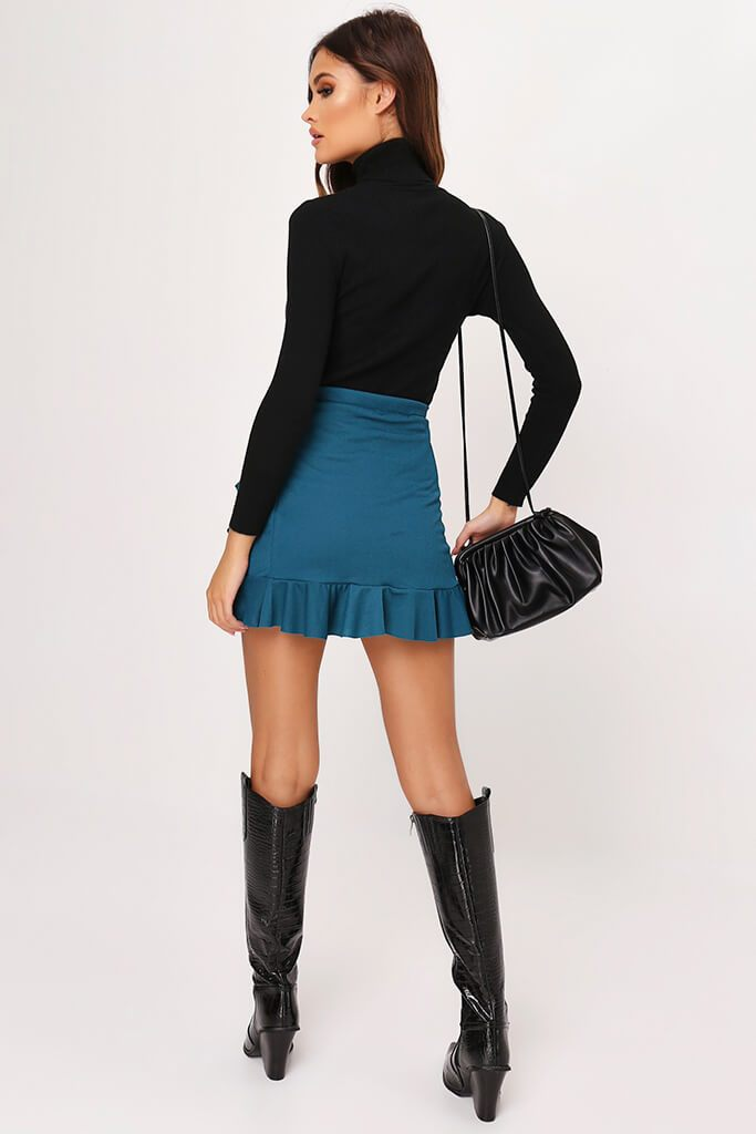 Dark Green Wrap Around Ruffle Mini Skirt view 5