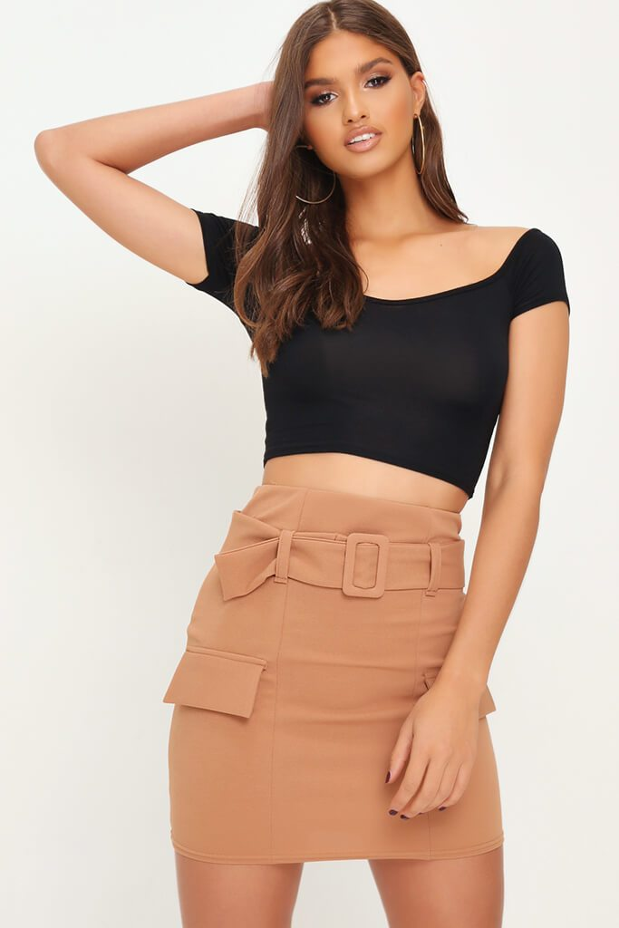 Black Belted Pocket Mini Skirt view main view