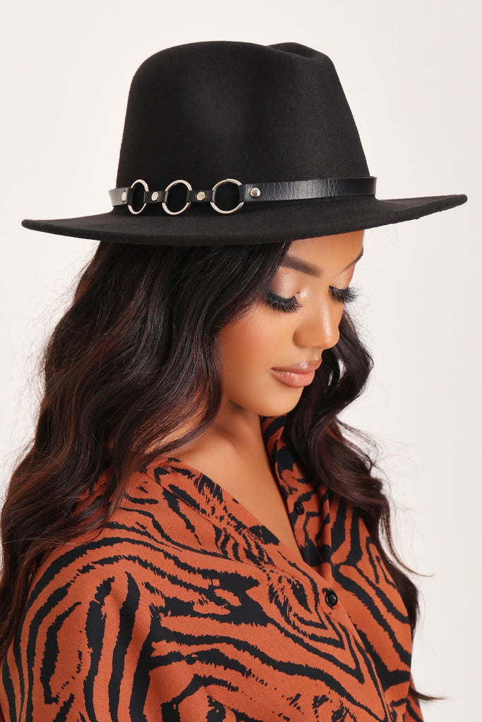 Black Fedora With Metal Detail Trim view 2