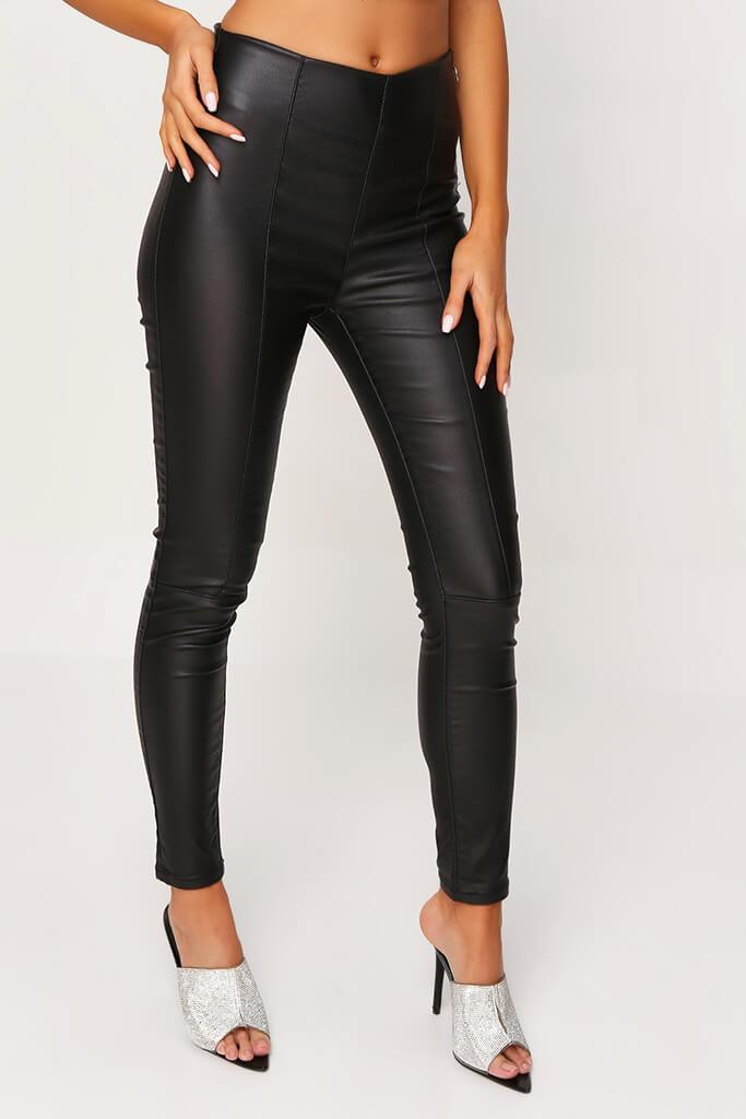 Black Coated Side Zip Jeans view 2