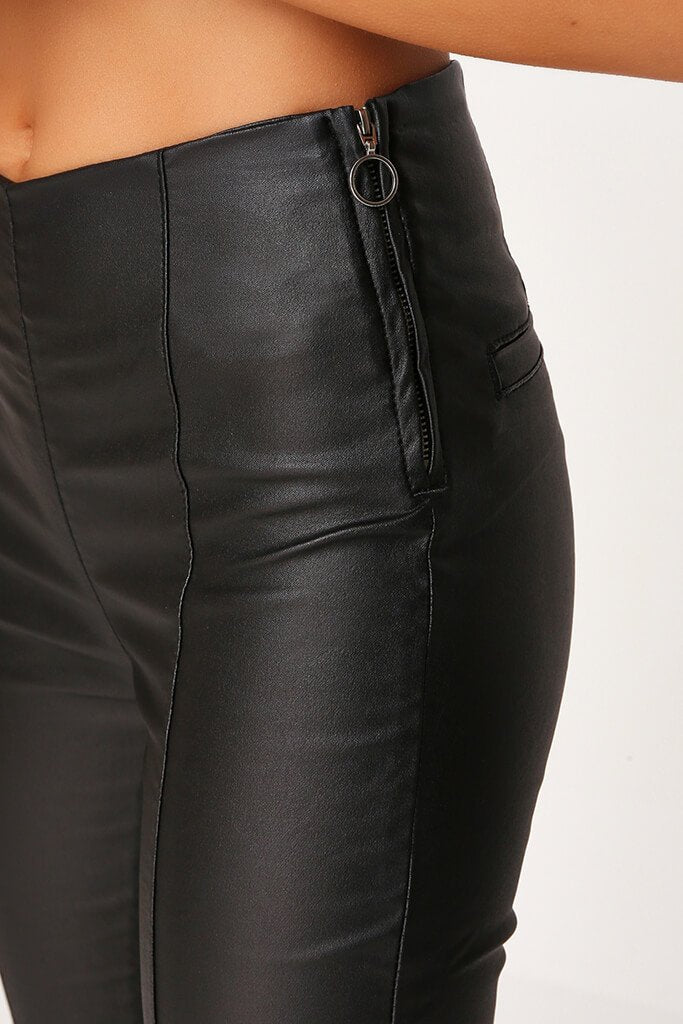 Black Coated Side Zip Jeans view 4