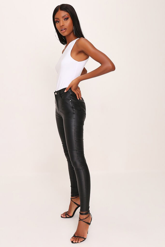 Black Coated Skinny Jeans view 3