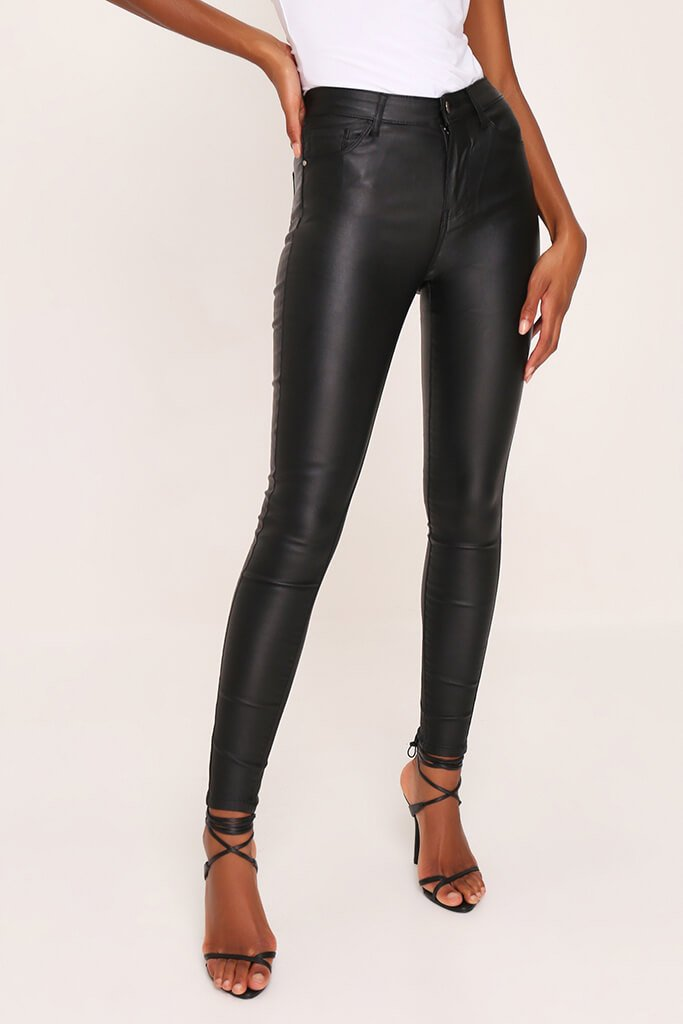 Black Coated Skinny Jeans view 2