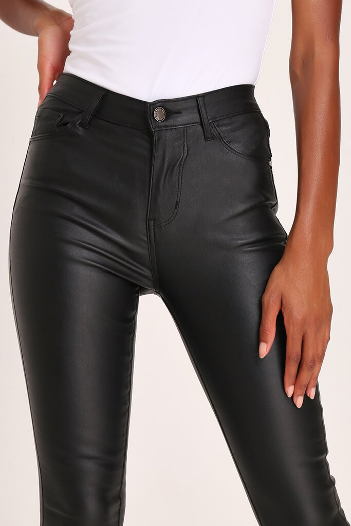 Black Coated Skinny Jeans view 4