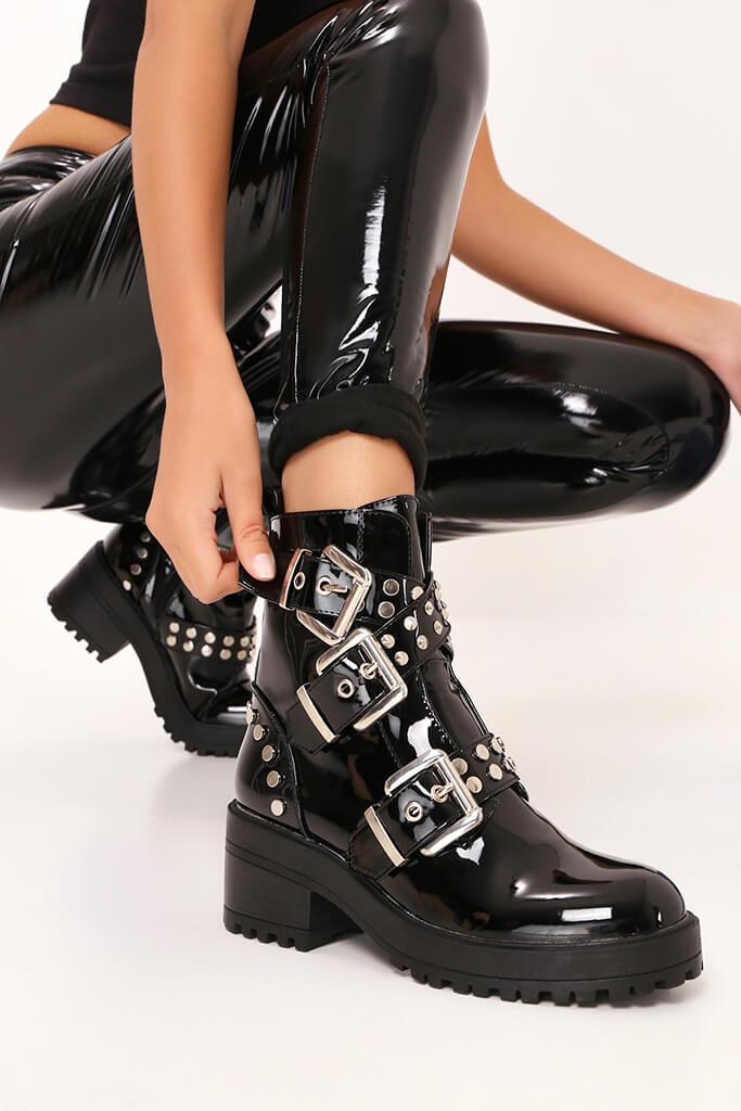 Black Patent Chunky Stud And Buckle Detail Ankle Boots