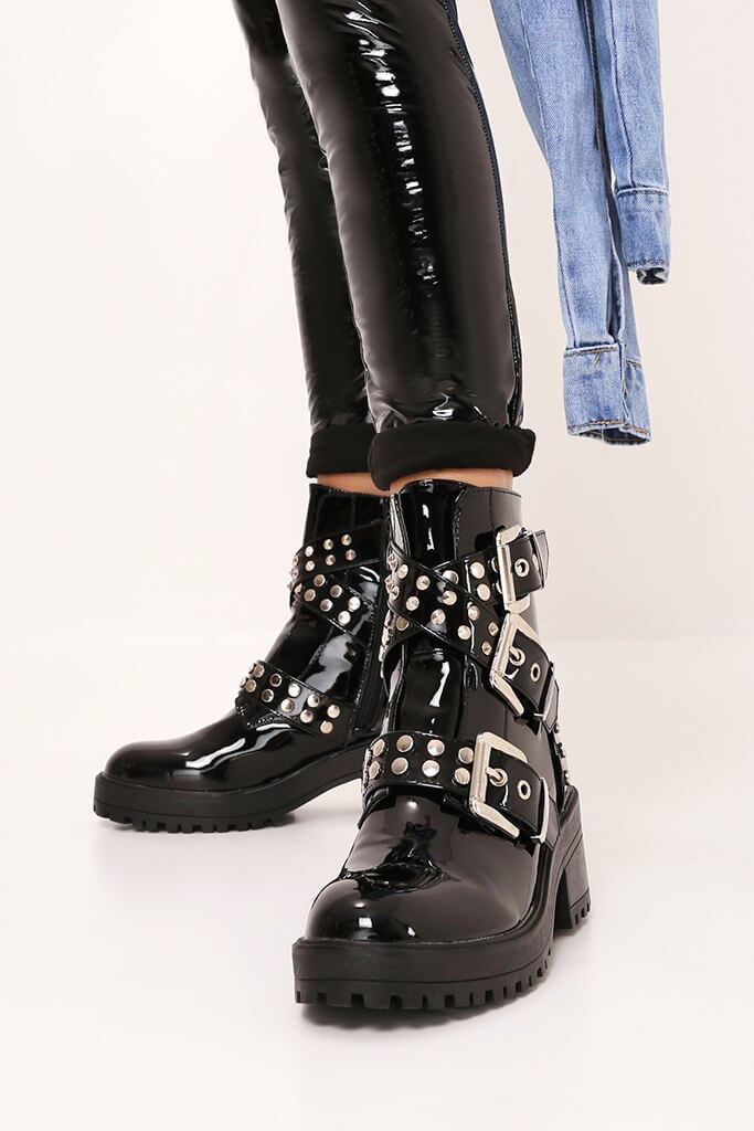Black Patent Chunky Stud And Buckle Detail Ankle Boots view 2