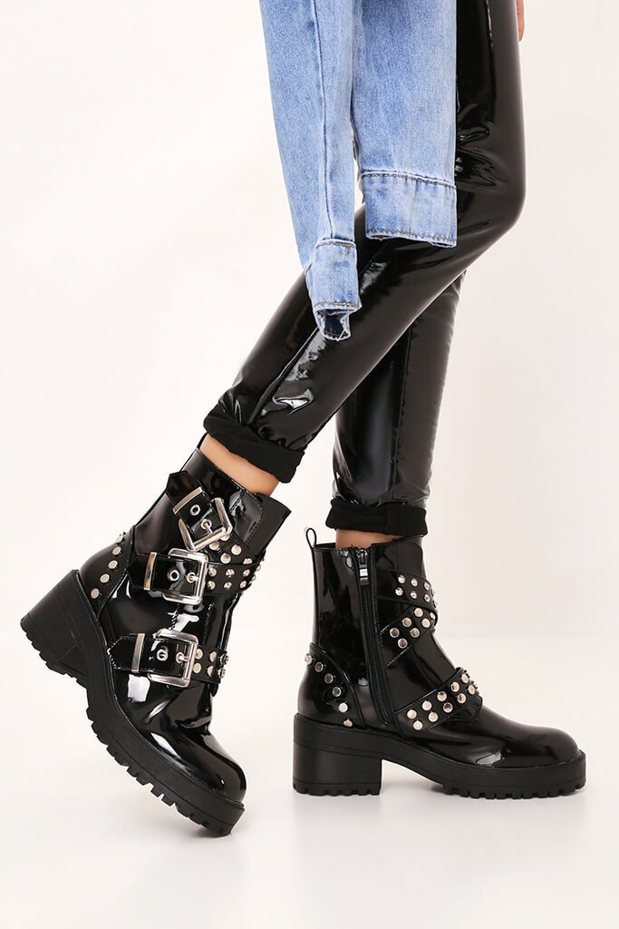 Black Patent Chunky Stud And Buckle Detail Ankle Boots view 3