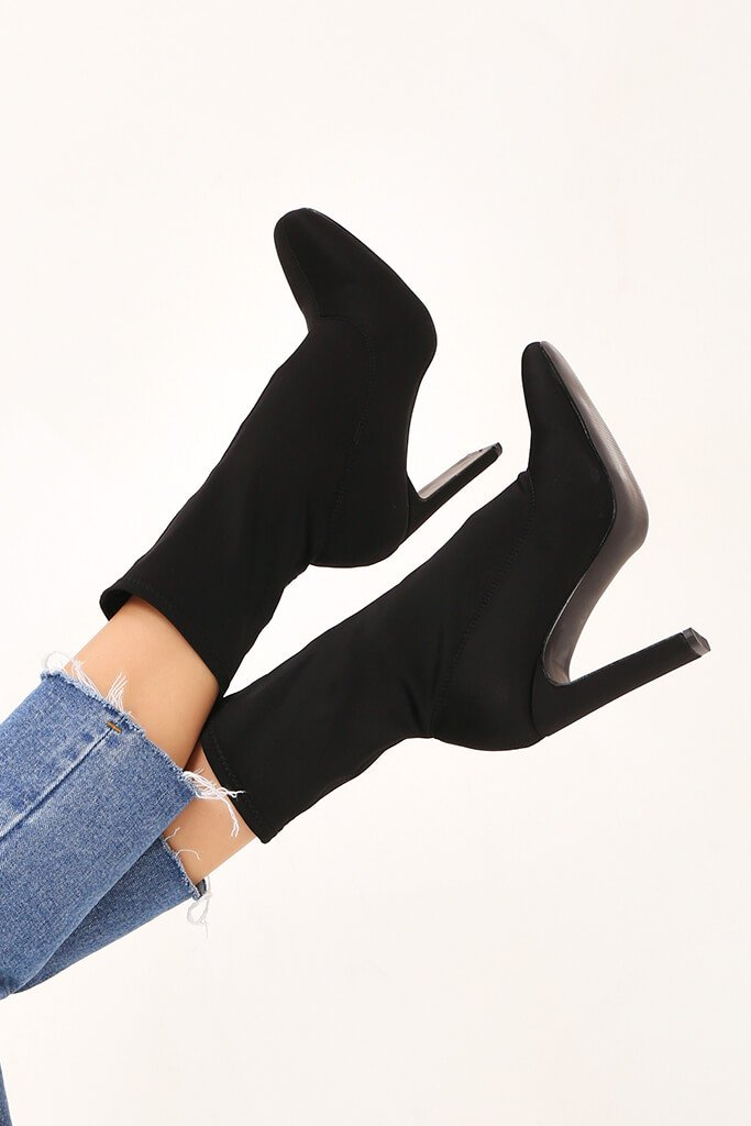 Black Pointy Stretch Sock Boots With Flat Heel view 3